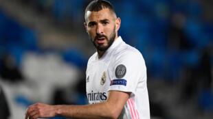 L'attaquant français du Real Karim Benzema, lors d'un match de Ligue des champions contre Mönchengladbach, le 9 décembre 2020 à Madrid