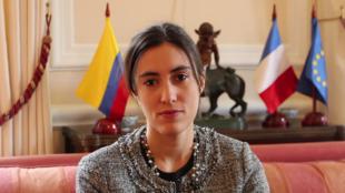 La diputada por los franceses de América Latina y el Caribe, Paula Forteza, durante su visita a Bogotá, el 14 de noviembre del 2017.