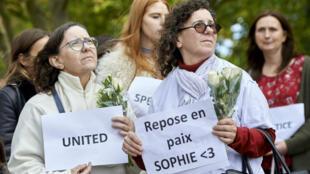 Une marche organisée à la mémoire de Sophie Lionnet, à Londres, le 11 octobre 2017.