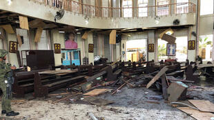 La iglesia en la que se registraron dos explosiones en Joló, Filipinas, el 27 de enero de 2019.