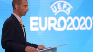 Le président de l'UEFA, le Slovène Aleksander Ceferin, lors de la présentation du logo de l'Euro-2020, le 21 septembre 2016 à Londres