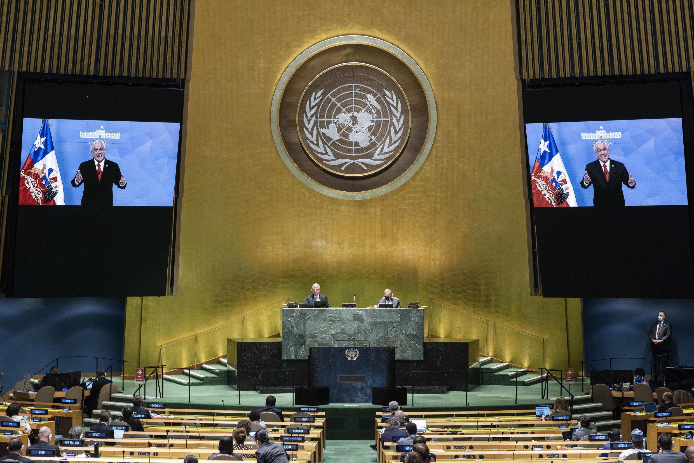 El presidente chileno, Sebastián Piñera, pronuncia un discurso virtual ante la Asamblea General de las Naciones Unidas, el 22 de septiembre de 2020 en la ONU, Nueva York