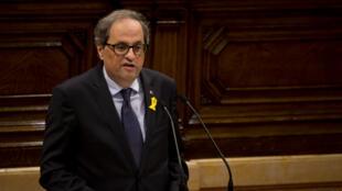 Le président catalan Quim Torra au parlement régional catalan à Barcelone, le 6 juin 2018.