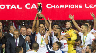 L'équipe du Wydad Casablanca célèbrant son deuxième sacre en Ligue des champions d'Afrique