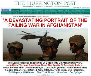 "Homepage of Huffington Post website that prominently features coverage of the ""Afghan War Diaries"" on WikiLeaks"
