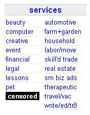 "Craigslist replaced the listing for its Adult Services category with the word ""CENSORED"" in bold characters."