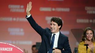 Le Premier ministre canadien, Justin Trudeau, le 21octobre2019 à Montréal.