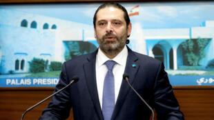 Le Premier ministre libanais, Saad Hariri, s'adressant à la presse après une réunion du cabinet au palais présidentiel à Baabda, à l'est de la capitale Beyrouth, le 21octobre2019.