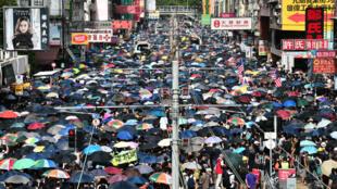 Des milliers de manifestants se sont rassemblés à Yuen Long, dans le nord de Hong Kong, le 27 juillet 2019.