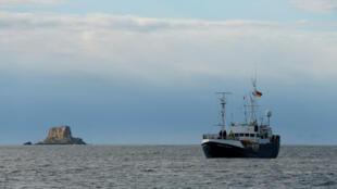 El buque Professor Albrecht Penck, operado por la ONG alemana Sea-Eye, cerca de la isla maltesa de Filfla. 8 de enero de 2019.