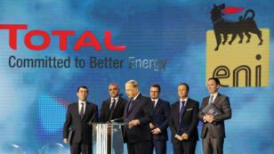 Le président libanais Michel Aoun, lors de la cérémonie organisée à l'occasion de la signature de contrats gaziers, le 9février2018.