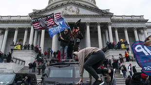 Rioters outside the Capitol on January 6