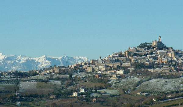 A view of Fermo, with the Appenine mountains in the background.