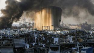 جانب من الدمار الذي خلفه الانفجار الضخم في مرفأ بيروت في الرابع من اب/اغسطس 2020