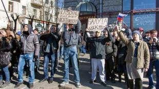 Manifestation de pro-Russes à Kharkiv