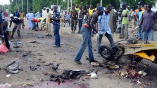 La scène d'un attentat-suicide, le 30 juillet 2015, à Maiduguri.