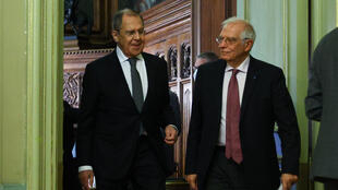 Russian Foreign Minister Sergei Lavrov and European Union High Representative for Foreign Affairs and Security Policy Josep Borrell hold a joint press conference following their talks in Moscow on February 5, 2021.