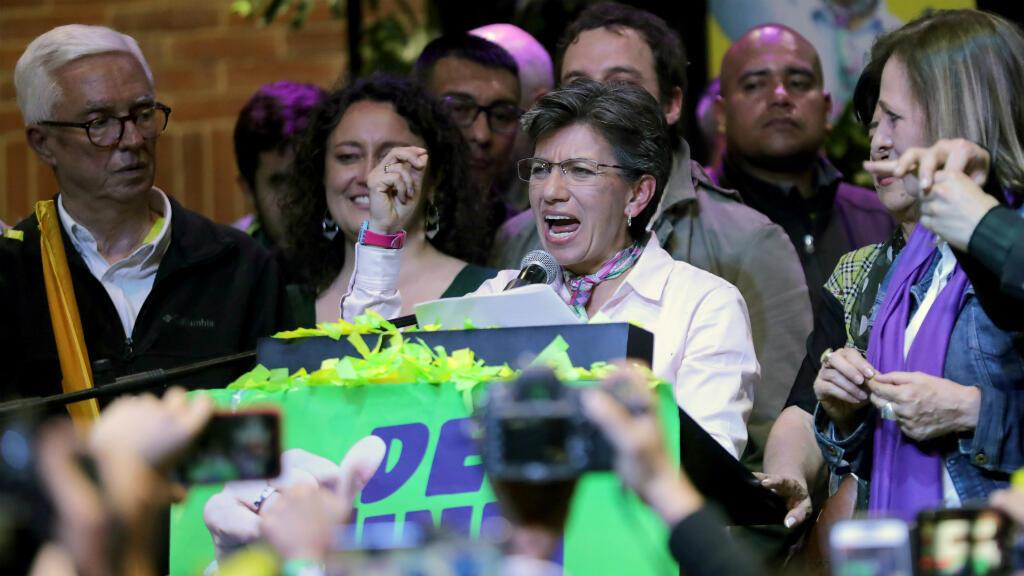Claudia López, candidata a la alcaldía de Bogotá, habla después de ganar las elecciones locales en Bogotá, Colombia, el 27 de octubre de 2019. Se convirtió en la primera mujer en ser alcaldesa de la capital.