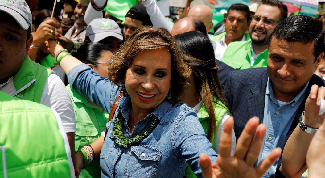La candidata presidencial, Sandra Torres, en el cierre de su campaña electoral, el 14 de junio de 2019, en Villanueva, Guatemala.