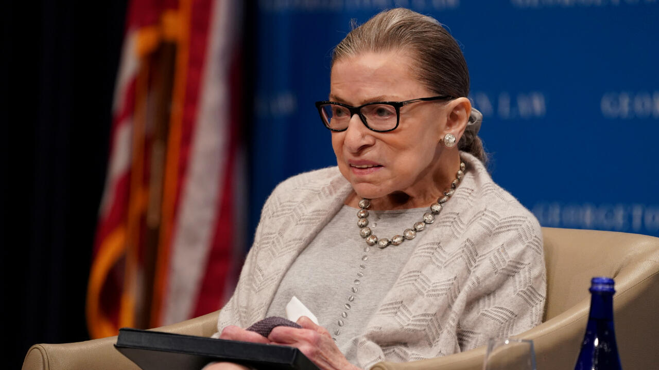 U.S. Supreme Court Justice Ruth Bader Ginsburg participates in a discussion hosted by the Georgetown University Law Center in Washington, D.C., U.S., September 12, 2019.