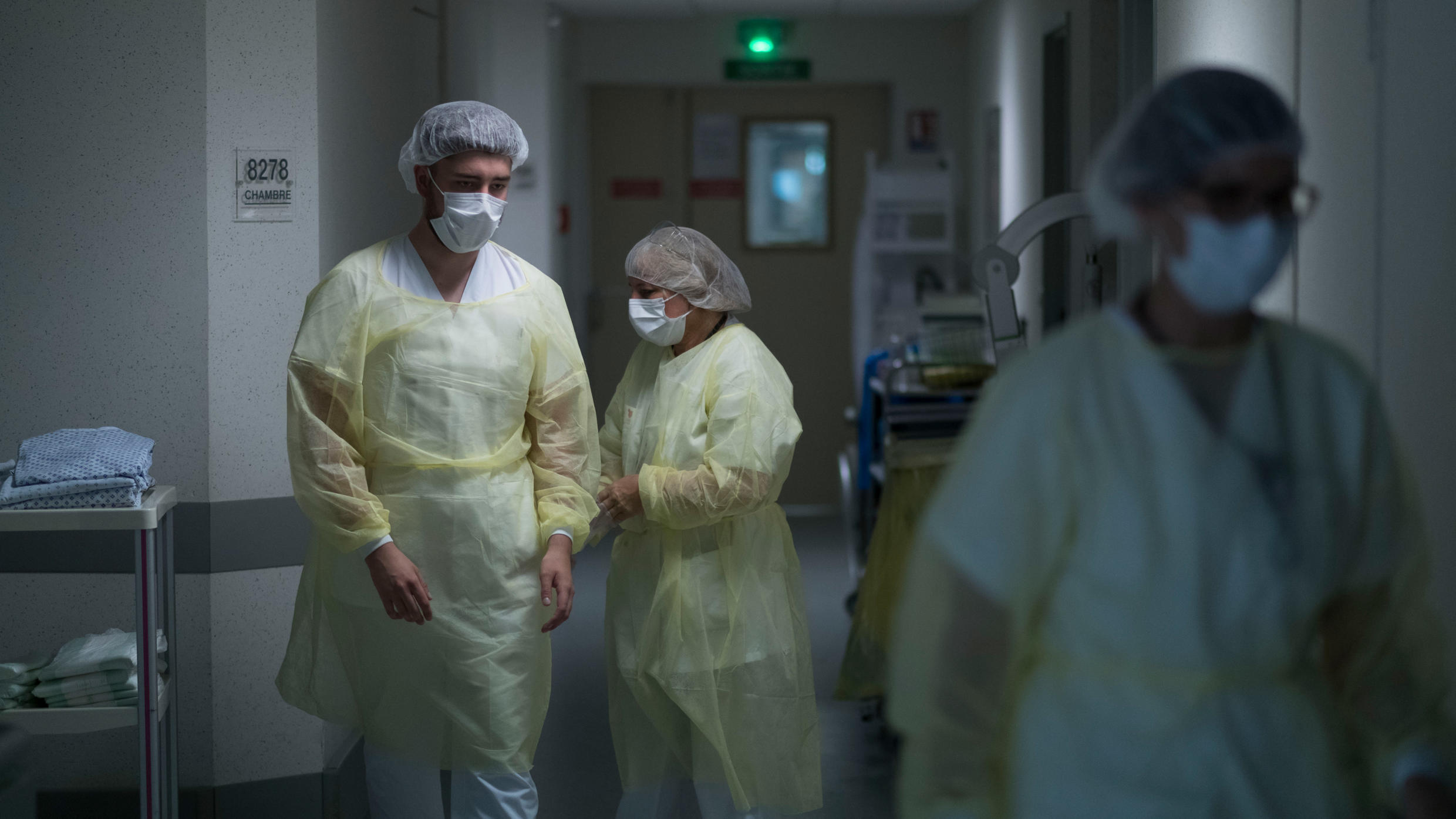 Physical medicine and rehabilitation unit staff members work at the Emile Muller Hospital in Mulhouse, on April 29, 2020.