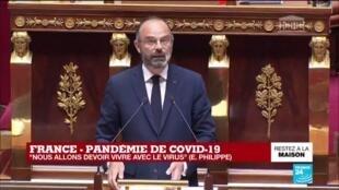 """2020-04-28 15:15 Coronavirus - Philippe à l'Assemblée : Une stratégie qui veut """"protéger, tester, isoler"""""""