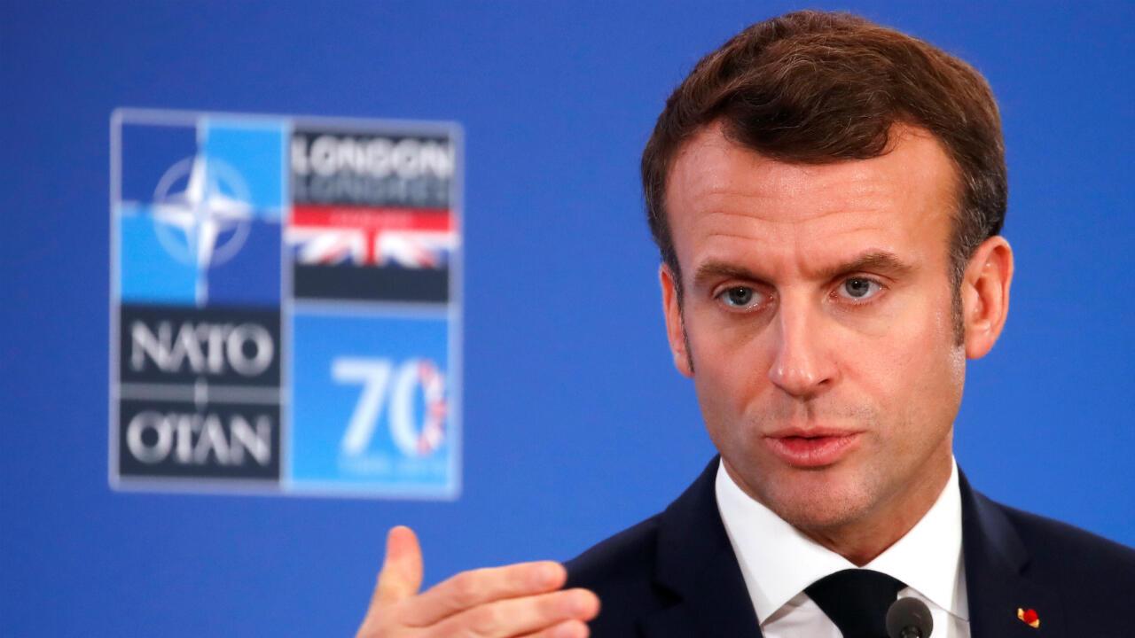 El presidente Emmanuel Macron asiste a una conferencia de prensa en la cumbre de la OTAN el 4 de diciembre de 2019 en Watford.