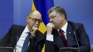 Le Premier ministre ukrainien Arseni Iatseniouk et  le président Petro Porochenko.