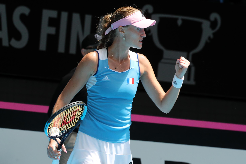 La française Kristina Mladenovic lors de la finale de la Fed Cup contre l'Australie, le 10 novembre 2019