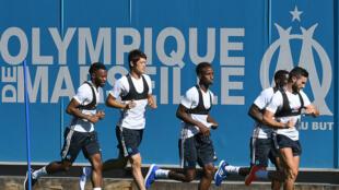 Des joueurs de l'Olympique de Marseille à l'entraînement le 4 juilllet 2016.