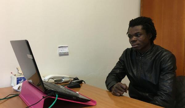 Soulemane Cissé, 21, at the Caritas offices in Fermo.