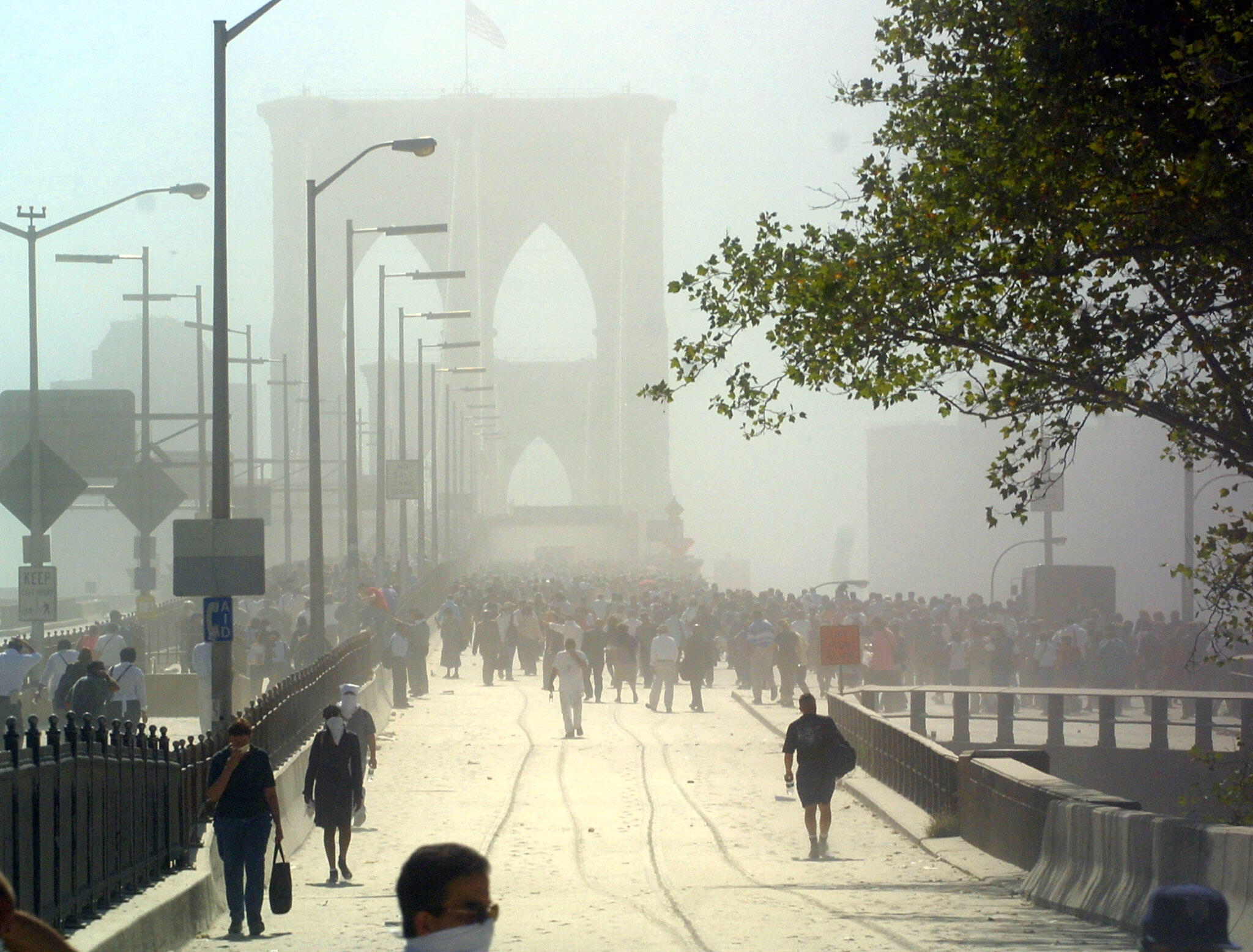Some 500,000 people fled Manhattan over the Brooklyn Bridge in a matter of just hours, even as the area was blanketed in dust and debris.