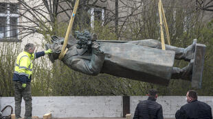 The controversial statue of Soviet general Ivan Kone, which Prague's mayor removed to Moscow's outrage