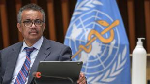 Le directeur général de l'OMS TedrosAdhanom Ghebreyesus, au siège de l'organisation à Genève, le 3 juillet 2020
