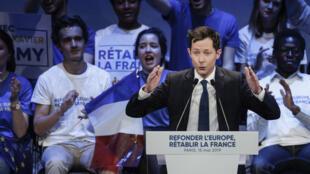 François-Xavier Bellamy le 15 mai 2019, lors d'un meeting à Paris.