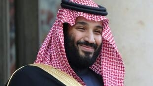 (FILES) In this file photo taken on April 10, 2018 Saudi Arabia's crown prince Mohammed bin Salman poses upon his arrival at the Elysee Presidential palace for a meeting with French president on April 10, 2018 in Paris