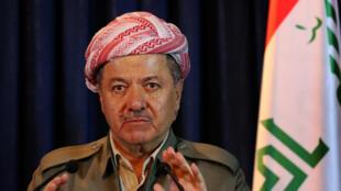 Le président du Kurdistan irakien, Massoud Barzani, lors d'une conférence de presse à Erbil, le 6 avril 2015.