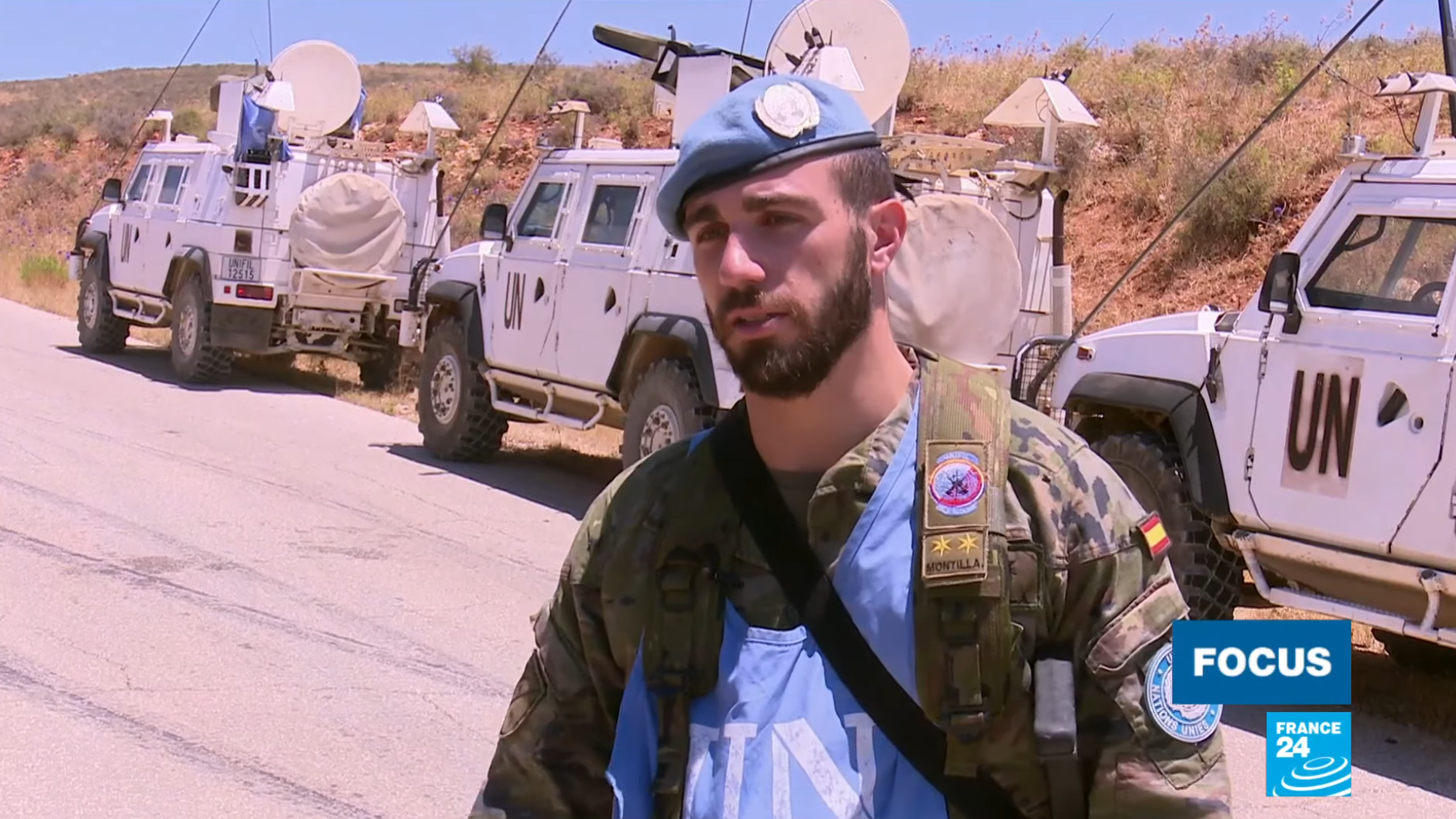 Lieutenant Alberto Montilla from the Spanish contingent of the UN's blue helmets, stationed on the Lebanese border with Israel, June 30 2020.