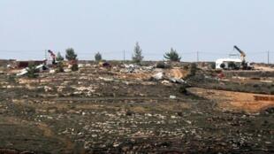 صورة بتاريخ 9 شباط/فبراير 2017 تظهر بؤرة عمونا الاستيطانية العشوائية في الضفة الغربية المحتلة