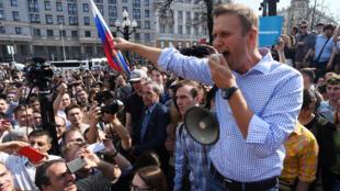 صورة من الارشيف للمعارض أليكسي نافالتي في موسكو في 5 أيار/مايو 2018