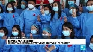 2021-02-03 15:03 Myanmar medics lead sprouting civil disobedience calls after coup