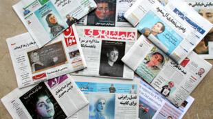 صور لعالمة الرياضيات الإيرانية مريم ميرزاخاني في الصحافة المحلية