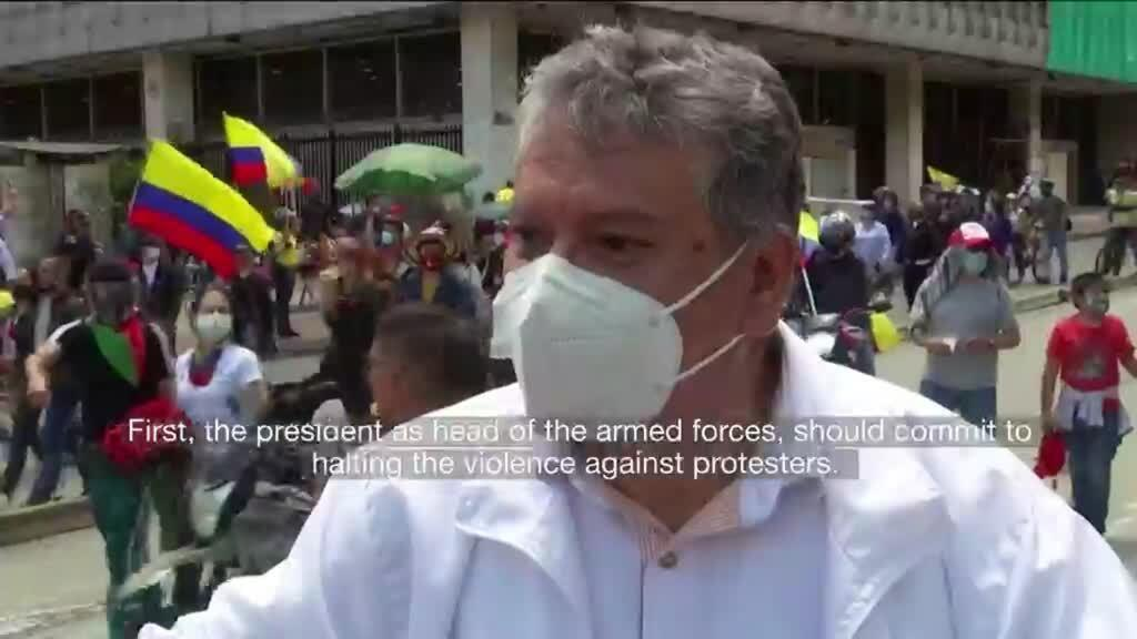 2021-05-13 14:11 Thousands demand an end to police violence in Colombia in nationwide antigovernment protests
