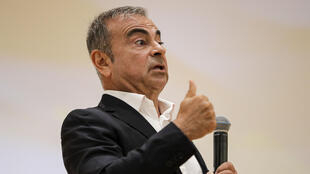Former Nissan chairman Carlos Ghosn speaks at a press conference in the northern Lebanese city of Jounieh on September 29