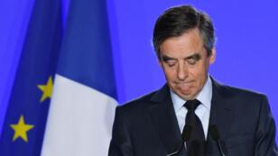François Fillon, mercredi 1er mars 2017, à son QG de campagne.
