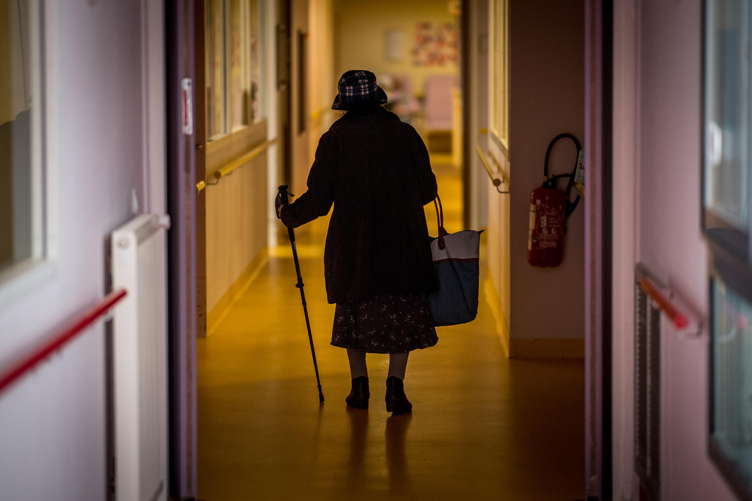 A resident of a care home in Brittany, pictured on March 4, 2020.