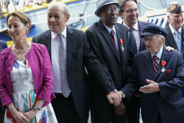 Ben Ferencz (right) was awarded France's Légion d'honneur during a ceremony in New York on July 3, 2015