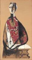 """""""Portrait d'une dame"""", papier collé de Pablo Picasso daté 1928."""