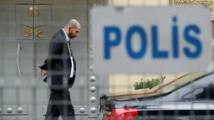 L'entrée du consulat saoudien à Istanbul, à l'intérieur duquel a disparu Jamal Khashoggi le 2octobre2018.