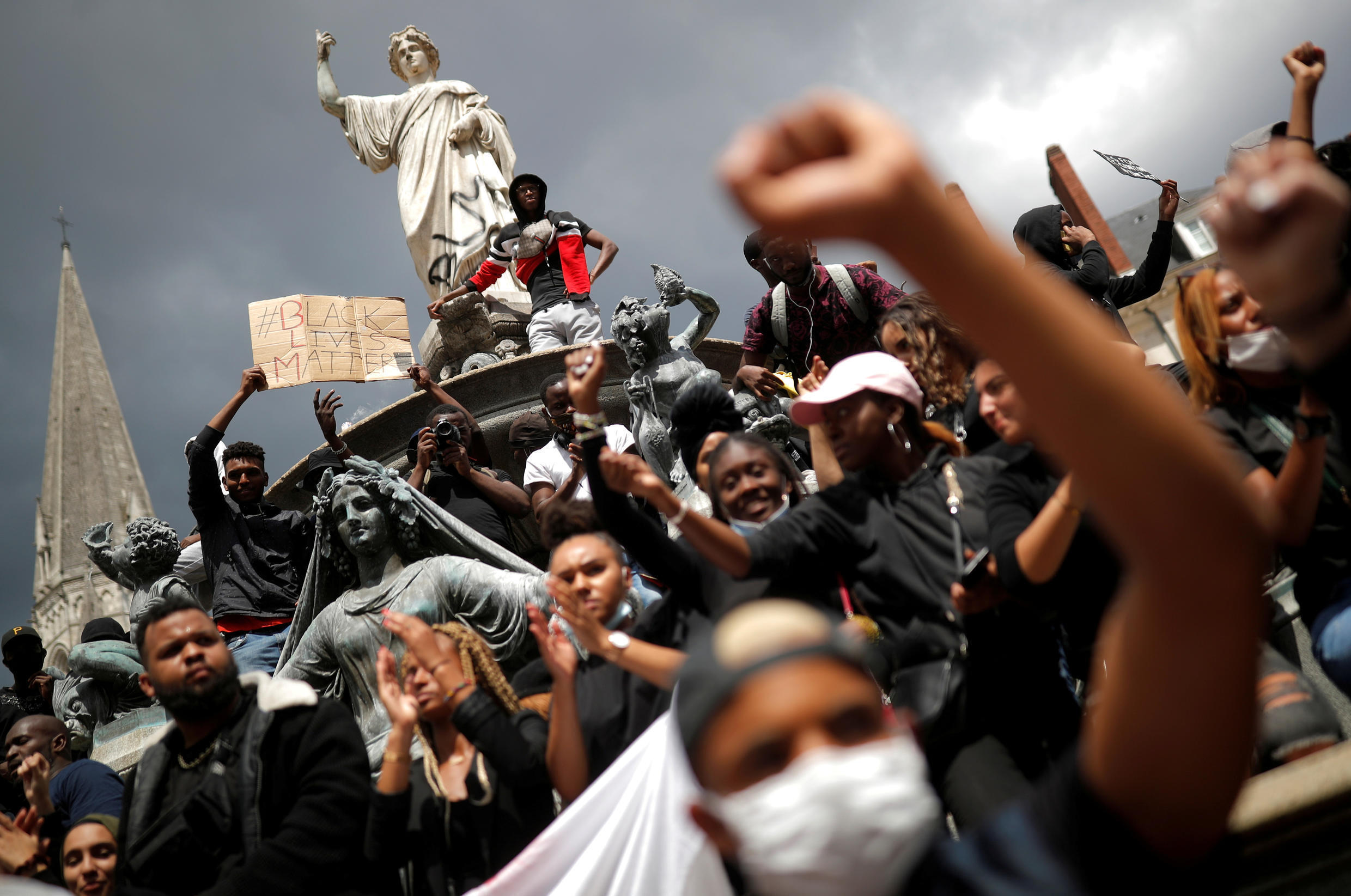 Protesters attend a rally against racism and police brutality in Nantes, western France, on June 8, 2020.